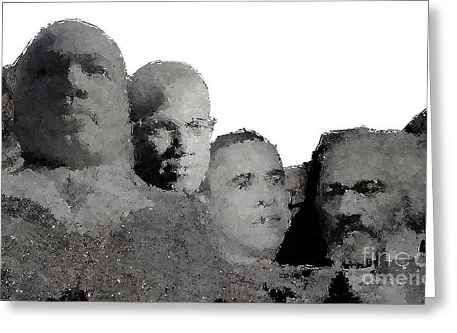 Black Mount Rushmore Greeting Card by Baltzgar