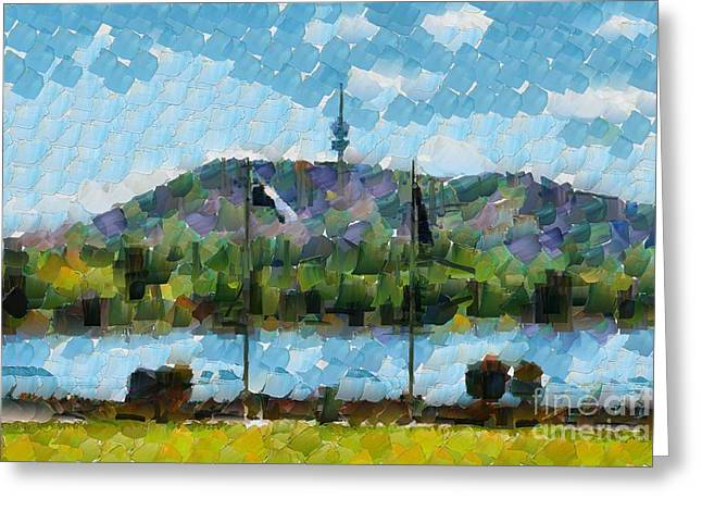 Greeting Card featuring the digital art Black Mountain View by Fran Woods