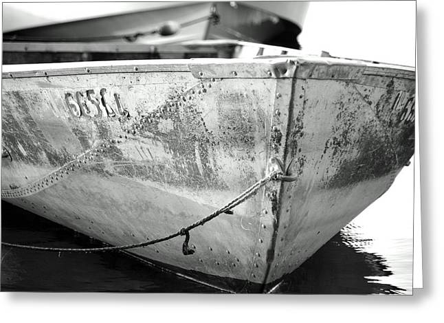 Black N White Row Boat Greeting Card by Thomas Fouch