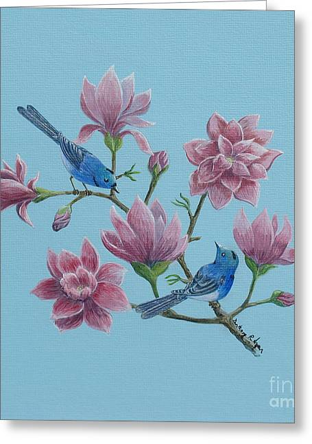 Black Naped Blue Flycatchers In Magnolias Greeting Card