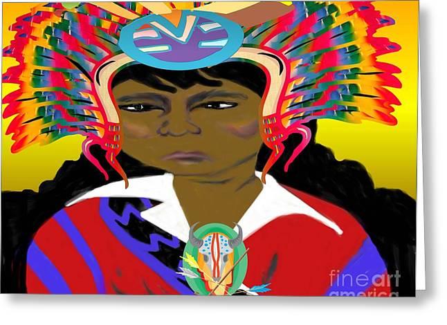 Black Native American Indian Greeting Card by Belinda Threeths