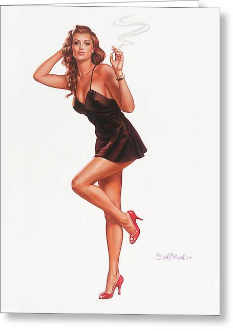 Black Negligee Girl Greeting Card by Dick Bobnick