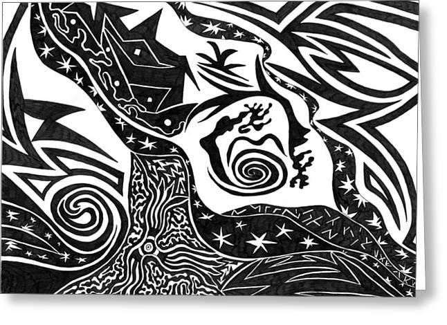 Black Night Greeting Card by Kerri White