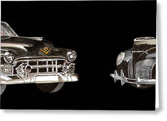 1952 Black Cadillac On Black Luxury Greeting Card by Jack Pumphrey