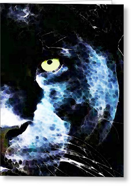 Black Panther Art - After Midnight Greeting Card by Sharon Cummings