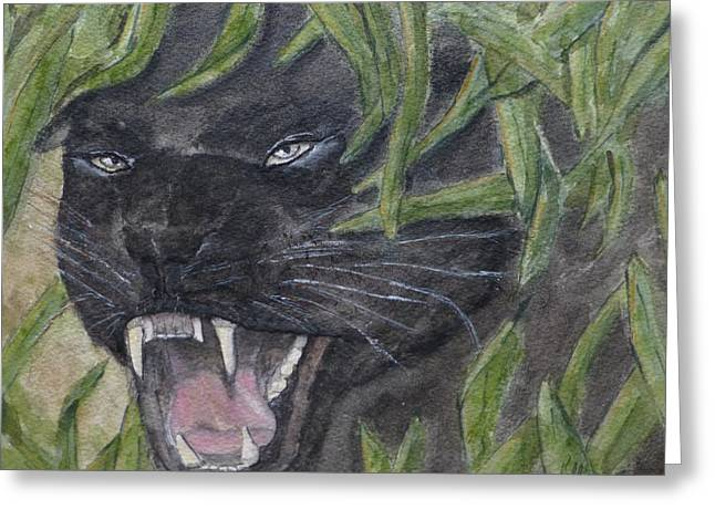Greeting Card featuring the painting Black Panther Fury by Kelly Mills