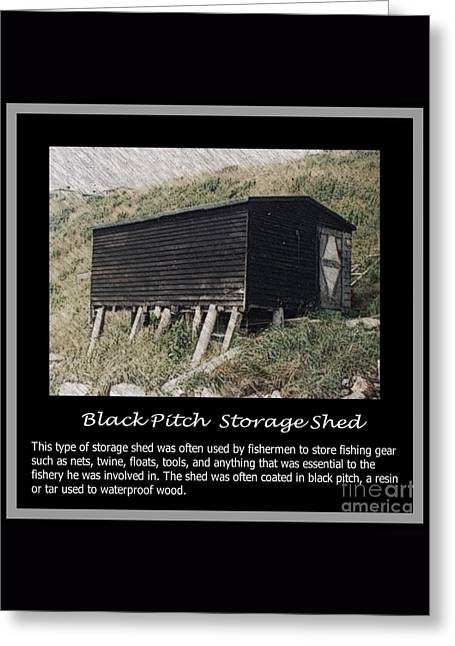 Black Pitch Storage Shed Greeting Card by Barbara Griffin