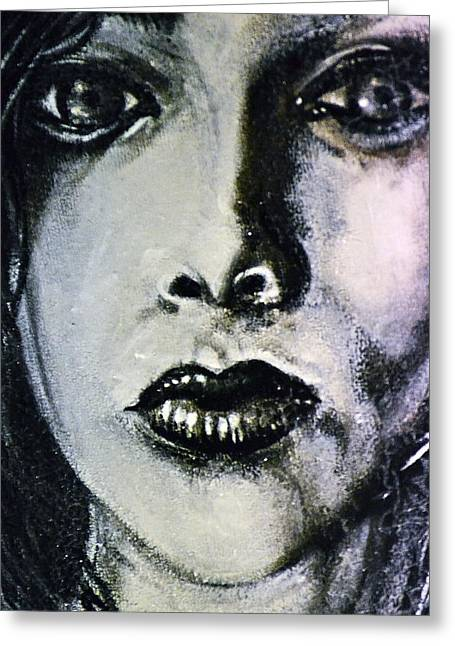 Greeting Card featuring the painting Black Portrait 14 by Sandro Ramani