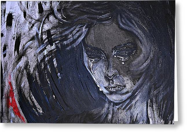 Greeting Card featuring the painting black portrait 16 Juliette by Sandro Ramani