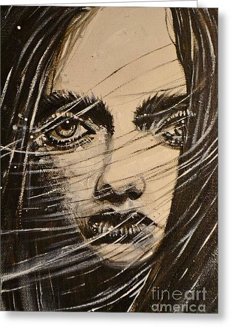 Greeting Card featuring the painting Black Portrait 18 by Sandro Ramani
