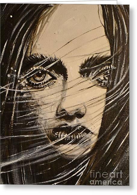 Black Portrait 18 Greeting Card by Sandro Ramani