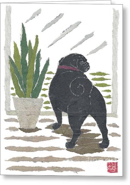 Black Pug Art Hand-torn Newspaper Collage Art Greeting Card by Keiko Suzuki Bless Hue