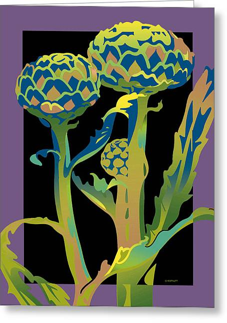 Black-purple Artichoke Greeting Card