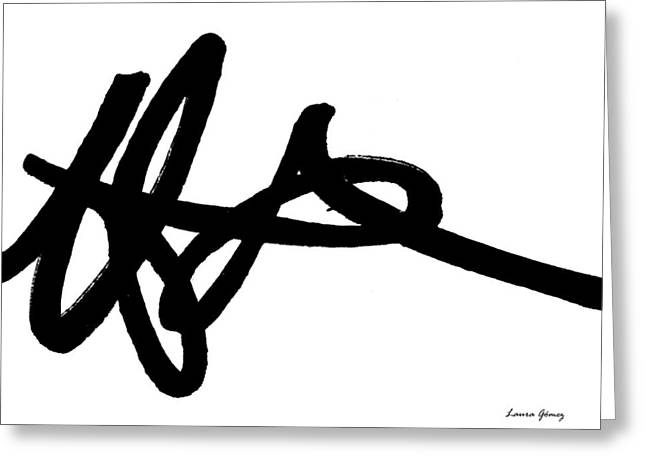 Black Ray -minimal Black And White Abstract By Laura Gomez - Horizontal Format Greeting Card