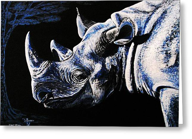 Black Rino Greeting Card
