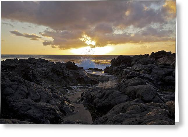 Black Rock Sunset Greeting Card by Brian Governale
