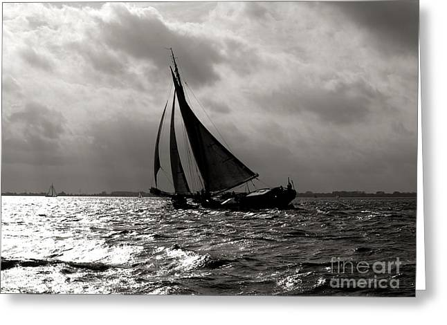 Black Sail Sunset Greeting Card