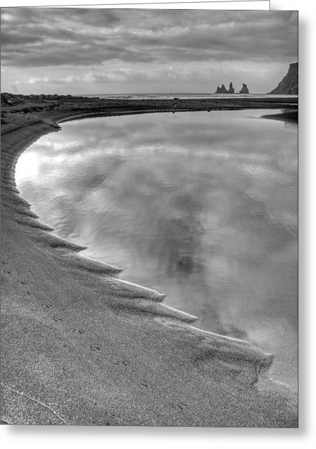 Black Sand Icelandic Beach Greeting Card by Claudio Bacinello