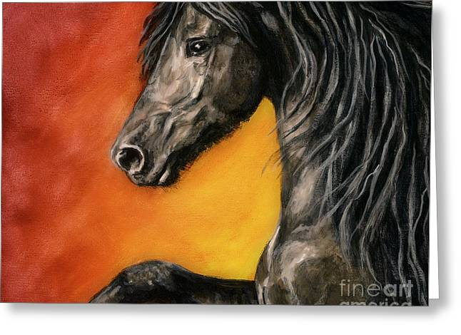 Greeting Card featuring the painting Black Satin by Sheri Gordon