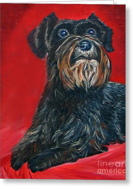 Black Schnauzer Pet Portrait Prints Greeting Card by Shelia Kempf