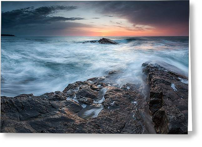 Black Sea Rocks Greeting Card by Evgeni Dinev