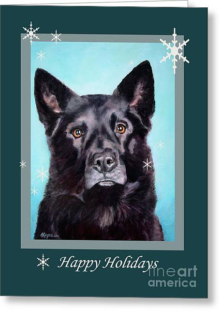 Black Shepard Mix Portrait Holiday Greeting Card