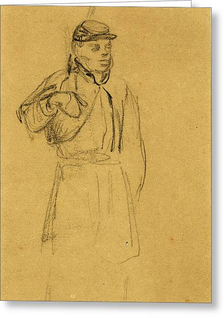 Black Soldier, 1862-1865, By Alfred R Waud, 1828-1891, An Greeting Card by Quint Lox