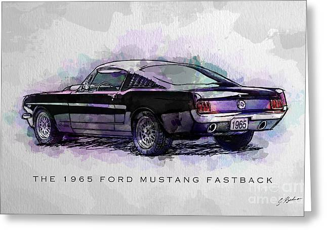 Black Stallion 1965 Ford Mustang Fastback Greeting Card by Gary Bodnar