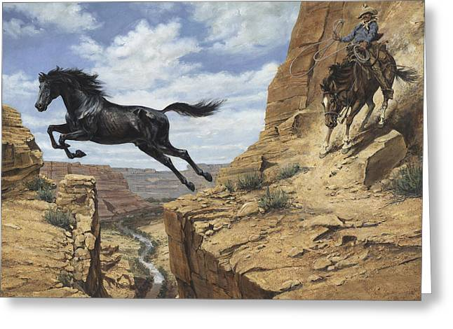 Black Stallion Jumping Canyon Greeting Card by Don  Langeneckert