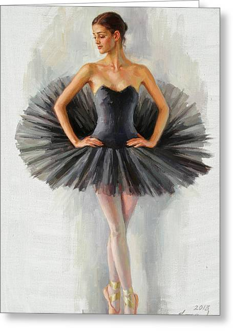 Black Swan Greeting Card by Serguei Zlenko