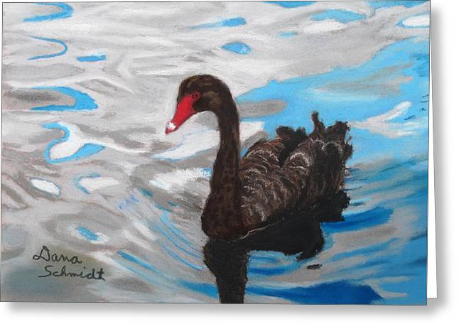 Black Swan Swimming Lake Eola Greeting Card