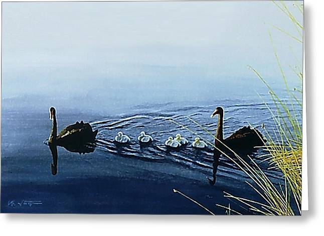 Black Swans Greeting Card by Hartmut Jager