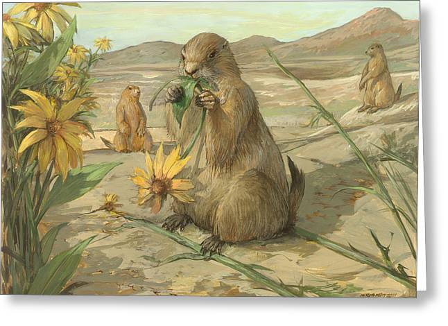 Black-tailed Prairie Dogs Greeting Card by ACE Coinage painting by Michael Rothman