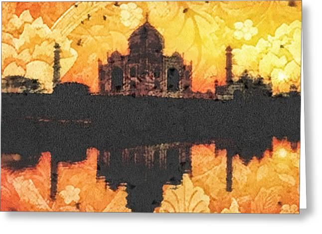 Black Taj Mahal Greeting Card by Mo T