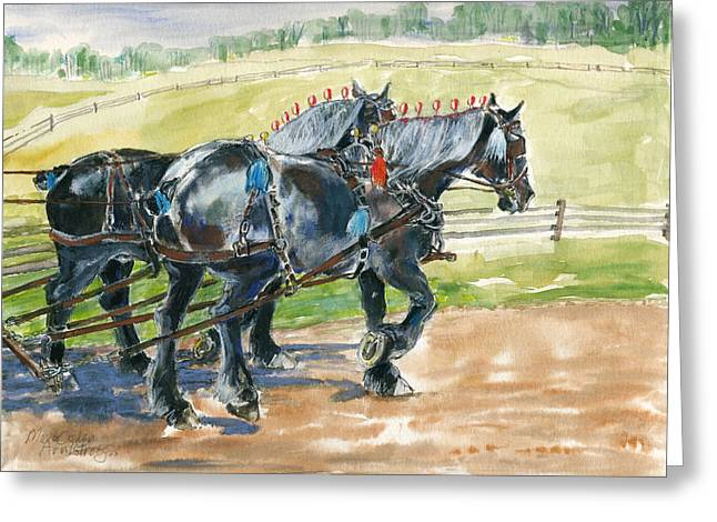 Greeting Card featuring the painting Black Team by Mary Armstrong