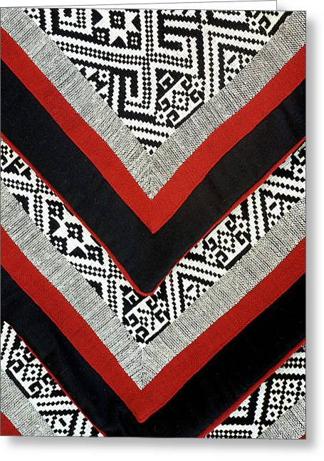 Black Thai Fabric 01 Greeting Card by Rick Piper Photography