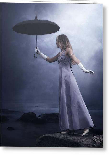 Black Umbrella Greeting Card by Joana Kruse