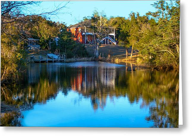 Black Water River In Blue Greeting Card