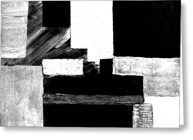 Black White Gray Abstract Greeting Card by Marsha Heiken