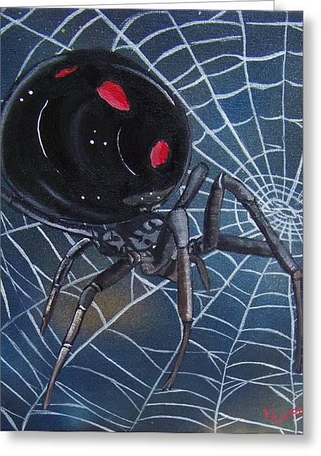 Black Widow Greeting Card by Debbie LaFrance