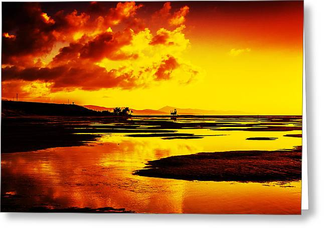 Black Yellow And Orange Sunrise Abstract Greeting Card