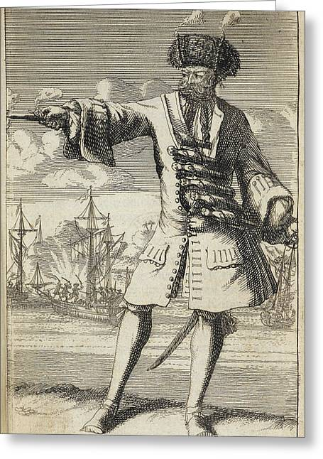 Blackbeard The Pirate Greeting Card by British Library