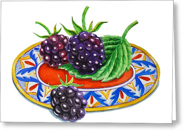 Blackberries On Deruta Plate Greeting Card by Irina Sztukowski