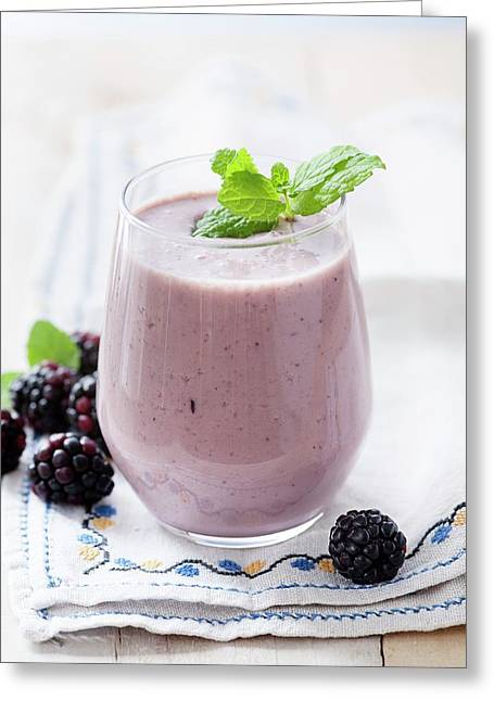 Blackberry And Apple Smoothie Greeting Card