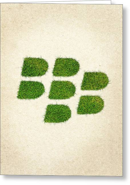 Blackberry Grass Logo Greeting Card by Aged Pixel