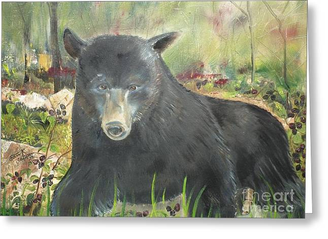 Greeting Card featuring the painting Blackberry Scruffy 2 by Jan Dappen
