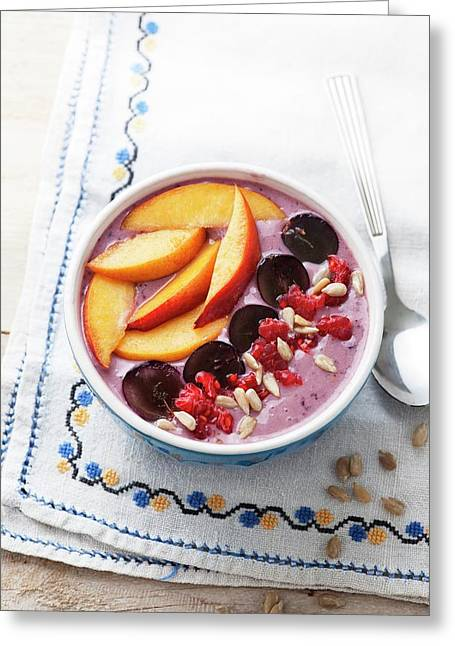 Blackberry Smoothie With Fresh Fruit Greeting Card