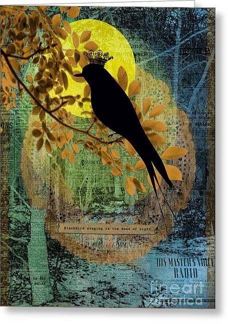 Blackbird Greeting Card by Gillian Singleton
