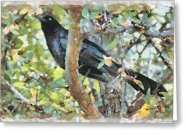 Blackbird Greeting Card by Lorri Crossno