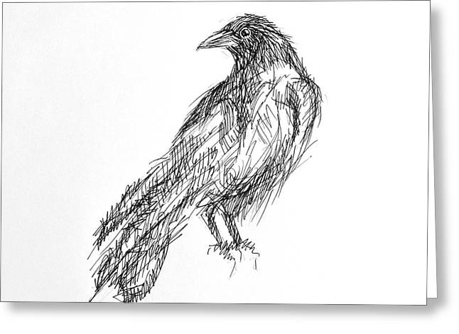 Greeting Card featuring the drawing Blackbird  by Nicole Gaitan